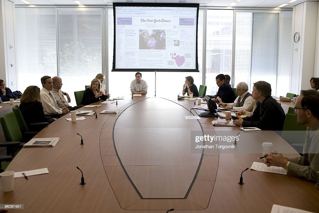 Inside the 'page one meeting' at the page one conference room near the newsroom at the new York Times Building designed by architect Renzo Piano on...