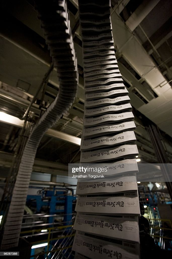 Inside the printing plant of the New York Times in College Point Queens May 2008 in New York City Page one starts printing around midnight and the...