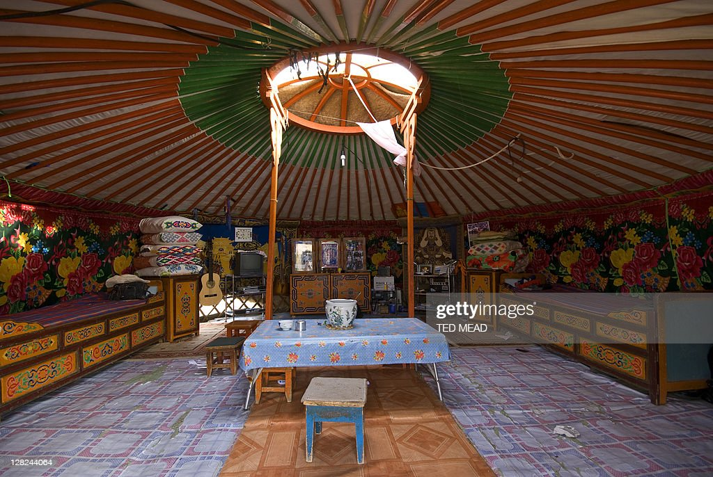 Inside view of a traditional Ger living space, Mongolia : Stock Photo