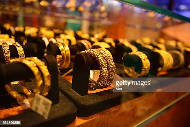 Inside view of jewellery shop on Dhanteras in Connaught Place on November 9 2015 in New Delhi India