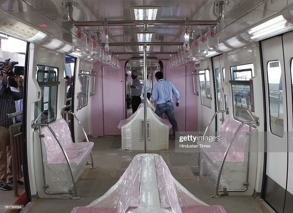 Inside view of mono rail train which for the first time a took passengers as a trial run from Wadala to Chembur on February 16, 2013 in Mumbai, India. The 19.54 km long Chembur-Wadala-Jacob Circle monorail project will be the country's first monorail route and is expected to be operational by August this year.