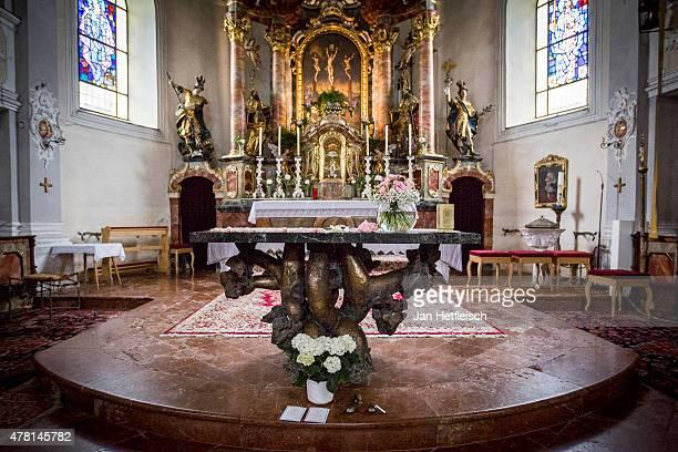 Inside view of the church zum Hl Kreuz before the wedding of Monica Ivancan and Christian Meier on June 20 2015 in Going Austria