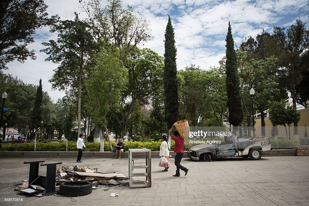 Inside view of the damaged Municipal Palace in Nochixtlan, Mexico, June 26, 2016 after being vandalized during teachers protest. Strike of the teachers has explode in Oaxaca to protest to the Educative Reform and the jailing of their leaders.