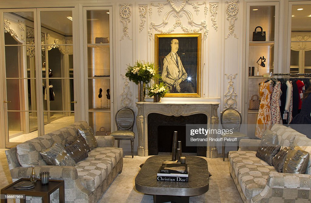 Inside view of the Dior Boutique, with a 1954 Christian Dior portrait by Bernard Buffet, during the Sainte-Catherine Celebration on November 23, 2012 in Paris, France.