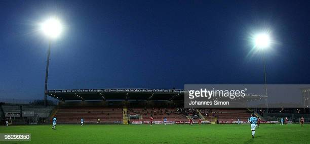 Inside view of the football arena at the Gruenwalder Strasse seen during the 3rd League match FC Bayern Muenchen II vs FC Ingolstadt at Gruenwalder...