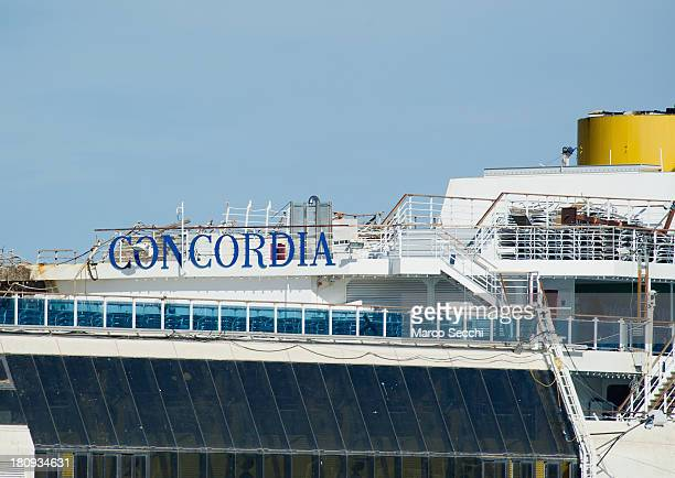 Insignia of the Costa Concordia cruise ship in upright position on September 18 2013 in Isola del Giglio Italy The vessel which sank on January 12...