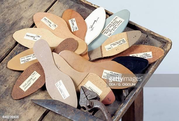 Insoles in various shapes and shoemaker's tools Italy Vigevano Castello Visconteo Sforzesco Museo Della Calzatura E Della Tecnica Calzaturiera 'Petro...