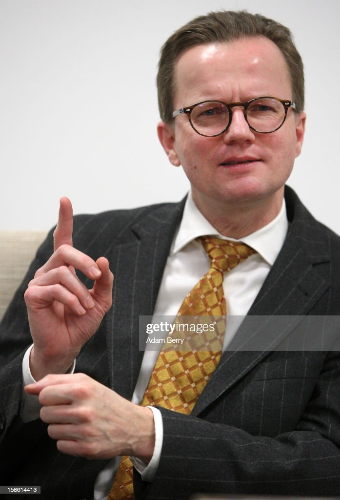 Insolvency lawyer Christian Koehler-Ma attends a news conference on December 21, 2012 in Berlin, Germany. The financial newswire Dow Jones is to replace Associated Press as an international distribution partner for the insolvent news agency dapd. Former CEO of N24 television Ulrich Ende is serving as a new investor in Germany's second-largest news agency, which declared bankruptcy in October and fired one hundred, or one-third, of its employees the following month.