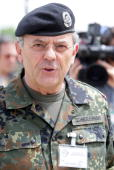 MAY 28 Inspector General of the German Bundeswehr Wolfgang Schneiderhan is seen during the military exercise European Endeavour 2008 of the...