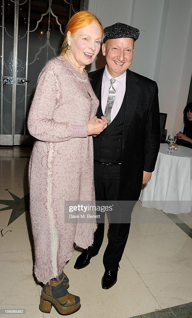Inspiration of the Year winner Dame Vivienne Westwood (L) and Stephen Jones pose at the Harper's Bazaar Women of the Year Awards 2012, in association with Estee Lauder, Harrods and Tiffany & Co., at Claridge's Hotel on October 31, 2012 in London, England.