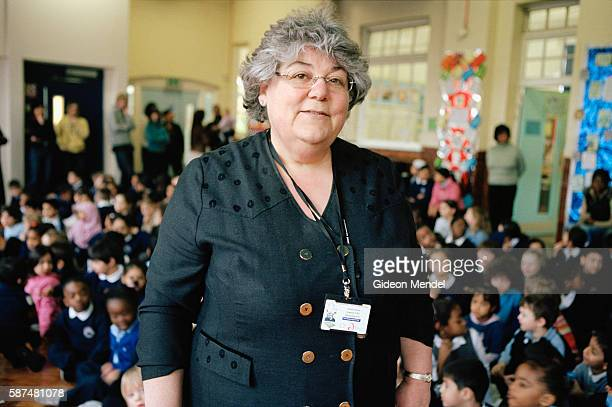 Inspirational head teacher of Millfields Community School Anna Hassan photographed during a school assembly She is highly regarded and was made a DBE...