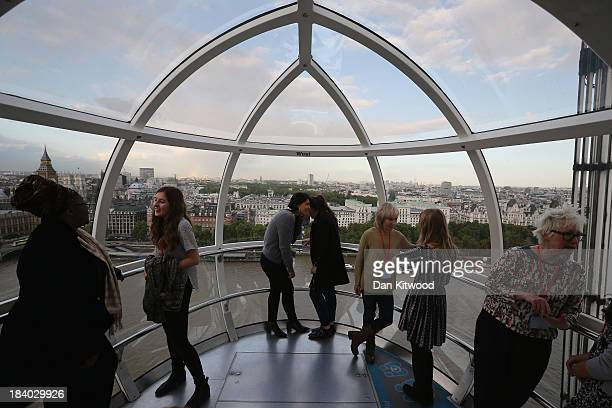 Inspirational women from various walks of life take part in a mentoring session in a London Eye pod with 6th form girls from Gumley House Convent...