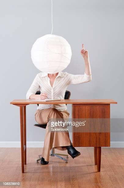 Inspired Stylish Woman Sitting At Retro Desk