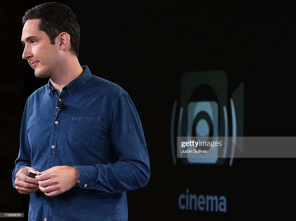 Instagram CEO Kevin Systrom announces the 'Cinema' filter for video as he speaks during a press event at Facebook headquarters on June 20, 2013 in Menlo Park, California. Systrom announced that Facebook's photo-sharing subsidiary Instagram will now allow users to take and share video.