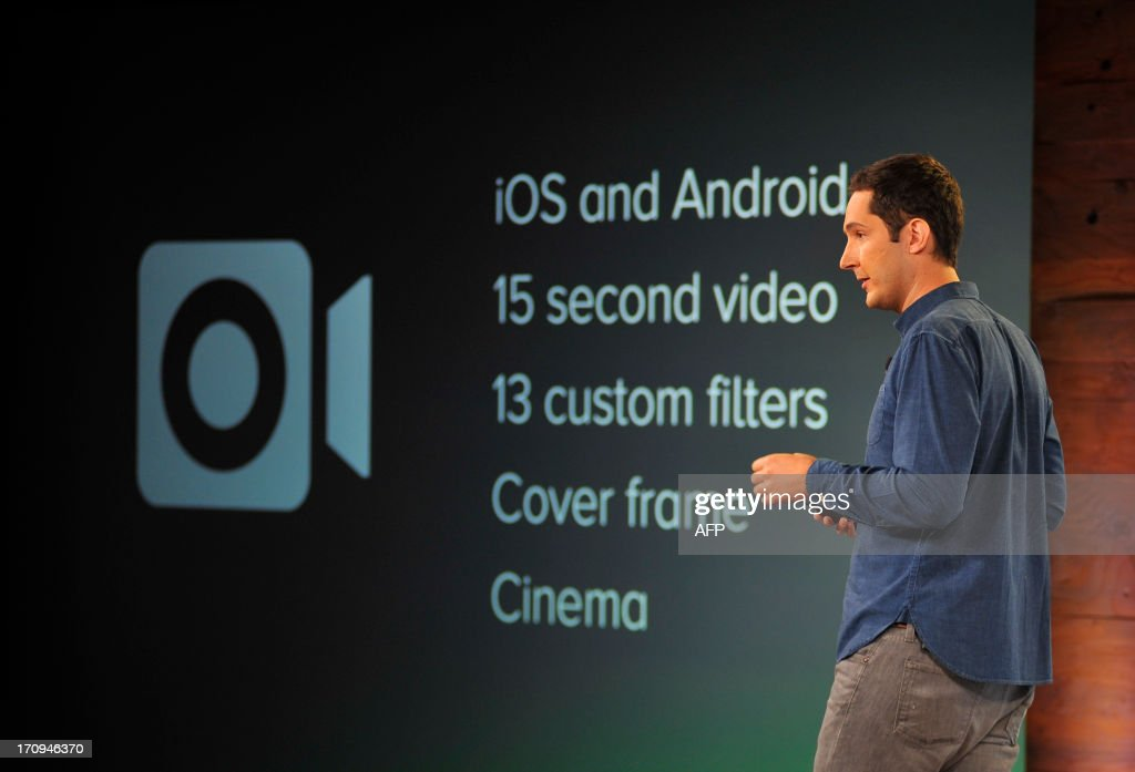 Instagram CEO Kevin Systrom speaks at Facebook's corporate headquarters during a media event in Menlo Park, California, on June 20, 2013. Facebook announced Thursday that it will add smartphone video-sharing to its Instagram photo-based social network, in a move that challenges Twitter's popular Vine service. Instagram video apps tailored for iPhones and smartphones powered by Google-backed Android software feature 13 filters for special effects and post to people's Facebook pages the same way pictures do, according to Systrom. Josh Edelson