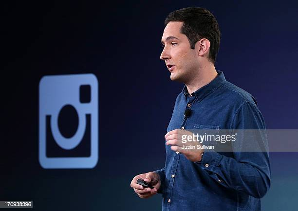 Instagram CEO Kevin Systrom speaks during a press event at Facebook headquarters on June 20 2013 in Menlo Park California Systrom announced that...