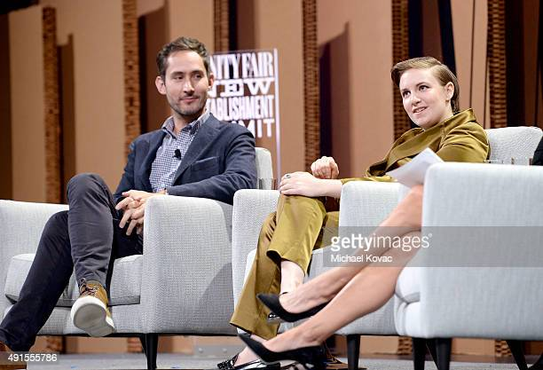 "Instagram Cofounder and CEO Kevin Systrom and filmmaker Lena Dunham speak onstage during 'You ""Like"" It … So Now What' at the Vanity Fair New..."