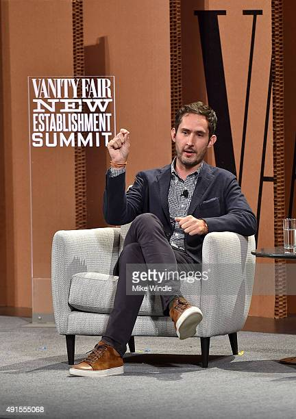 "Instagram Cofounder and CEO Kevin Systrom speaks onstage during 'You ""Like"" It … So Now What' at the Vanity Fair New Establishment Summit at Yerba..."