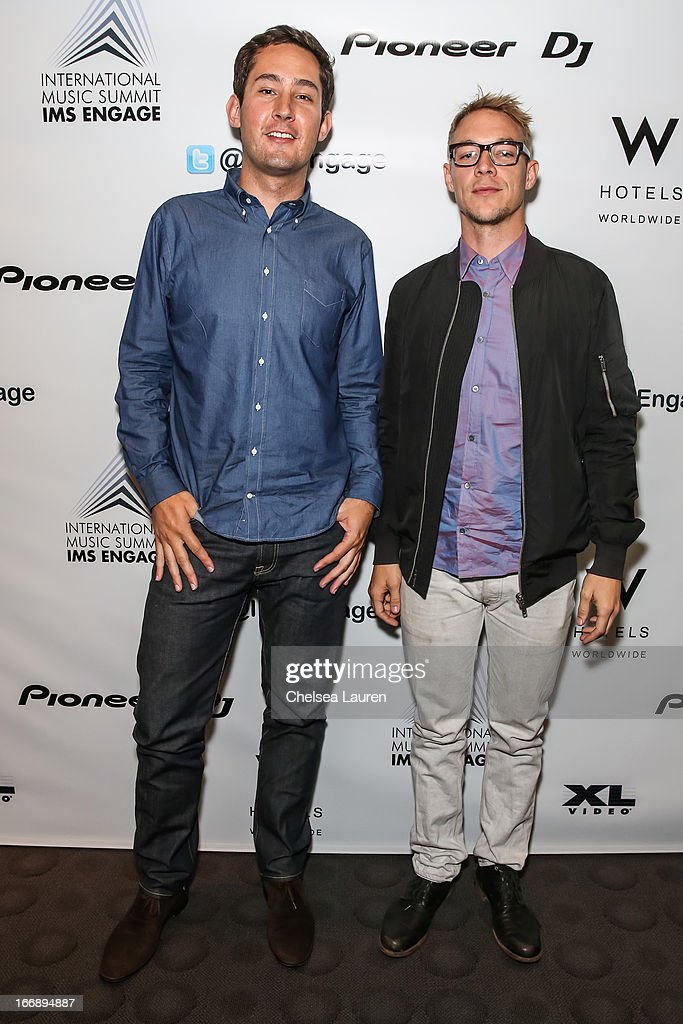 Instagram founder <a gi-track='captionPersonalityLinkClicked' href=/galleries/search?phrase=Kevin+Systrom&family=editorial&specificpeople=7804585 ng-click='$event.stopPropagation()'>Kevin Systrom</a> (L) and DJ <a gi-track='captionPersonalityLinkClicked' href=/galleries/search?phrase=Diplo&family=editorial&specificpeople=2375691 ng-click='$event.stopPropagation()'>Diplo</a> attend IMS Engage in partnership with W Hotels Worldwide at W Hollywood on April 17, 2013 in Hollywood, California.