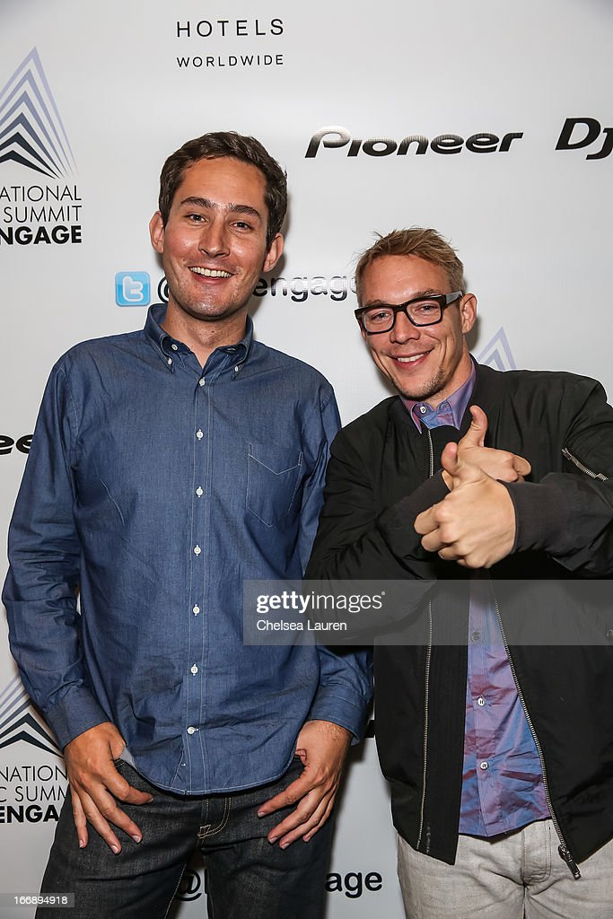 Instagram founder Kevin Systrom (L) and DJ Diplo attend IMS Engage in partnership with W Hotels Worldwide at W Hollywood on April 17, 2013 in Hollywood, California.