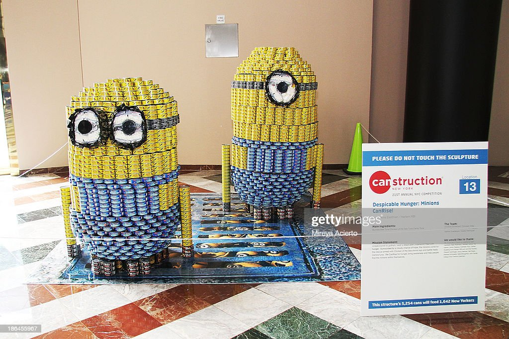 Minons CanRise!' by Perkins Eastman/Harlem RBI at Canstruction: 21st Annual NYC Competition - Media Preview Event at Brookfield Place Waterfront Plaza on October 31, 2013 in New York City.