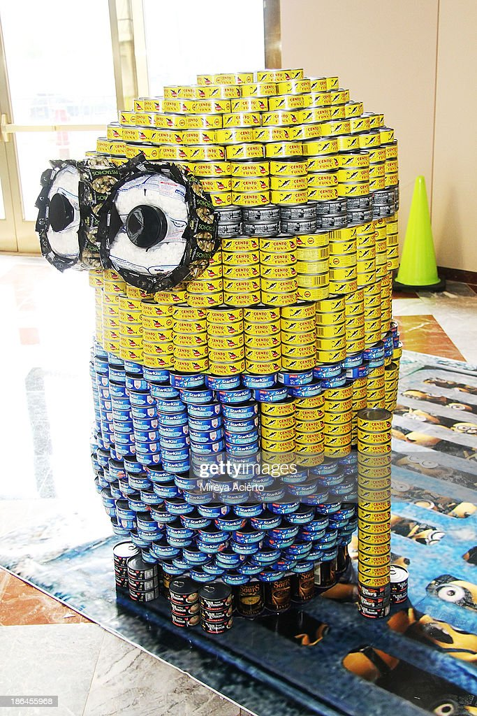 Installation 'Despicable Hunger: Minons CanRise!' by Perkins Eastman/Harlem RBI at Canstruction: 21st Annual NYC Competition - Media Preview Event at Brookfield Place Waterfront Plaza on October 31, 2013 in New York City.
