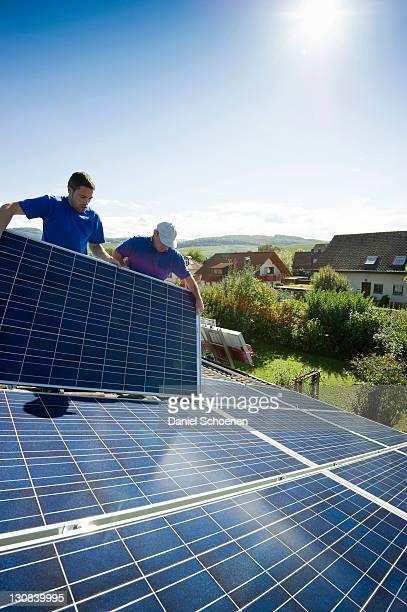Installation of a solar system near Freiburg im Breisgau, Baden-Wuerttemberg, Germany, Europe