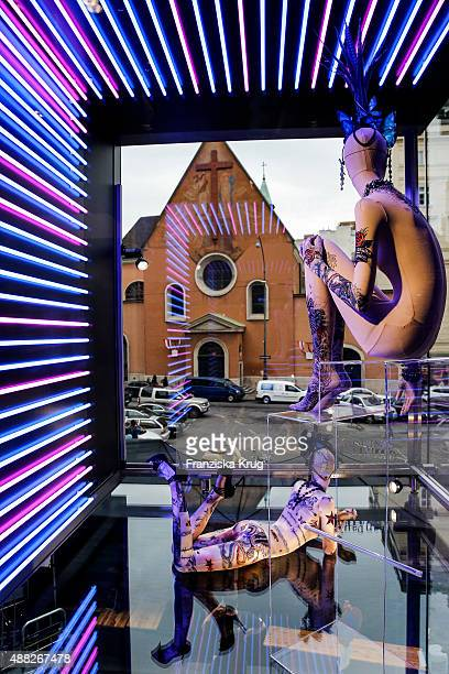 Installations by designer Jean Paul Gaultier are seen at the Swarovski Kristallwelten store on September 15 2015 in Vienna Austria