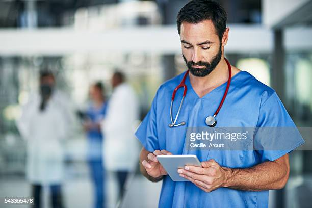 Installing the latest medical apps on his tablet