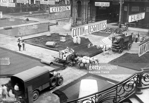 Installing the Paris Auto Show at the Grand Palais in September 1929 in Paris France