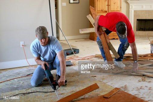 Installing wood floor 3.