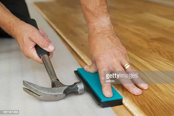 Installation du parquet en bois