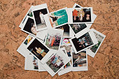 Flat lay montage of instant film photos of friends on vacation in Tuscany, Italy.