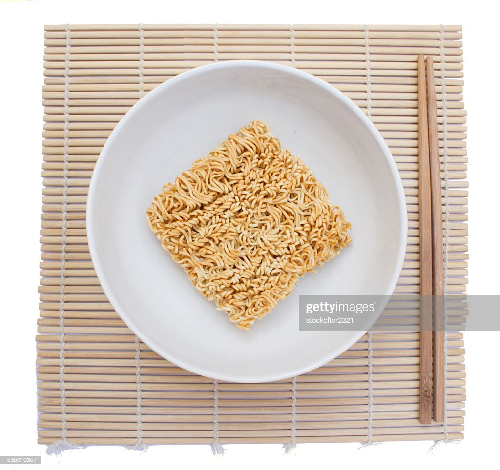 instant noodles on white background : Stock Photo