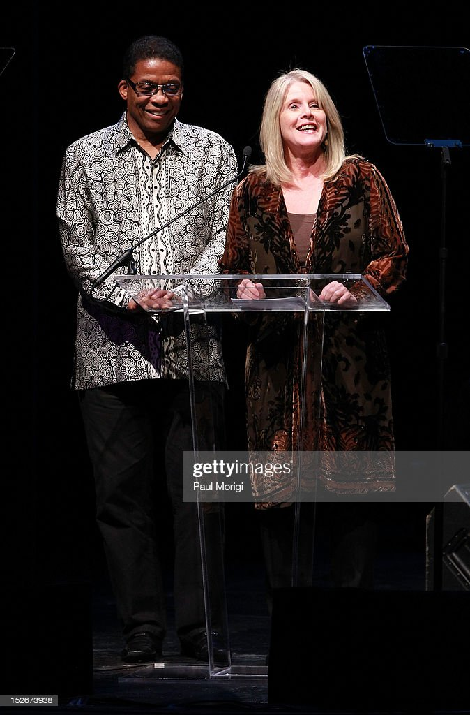 Institute Chairman Herbie Hancock and Tipper Gore make a few remarks at the Thelonious Monk International Jazz Drums Competition and Gala Concert at The Kennedy Center on September 23, 2012 in Washington, DC.
