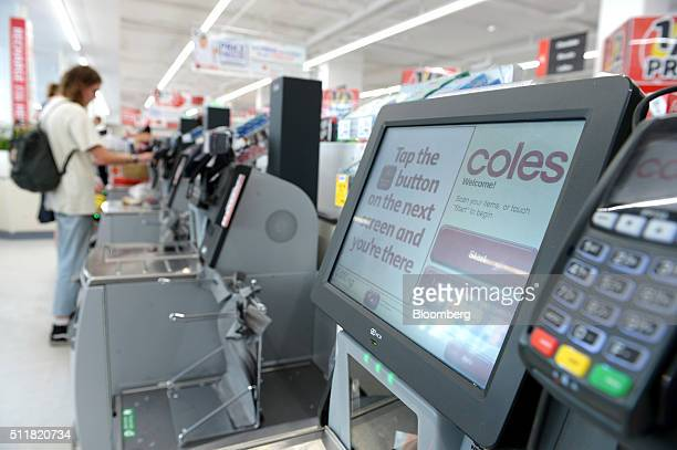 Instructions are displayed on the screen of a self checkout counter in a Coles supermarket operated by Wesfarmers Ltd in Melbourne Australia on...