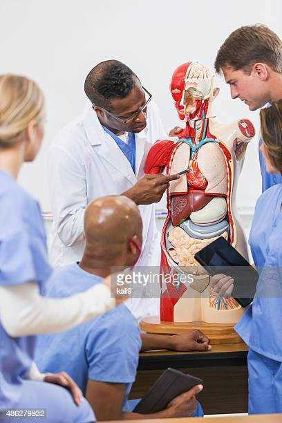 Instructor and students in medical school anatomy class