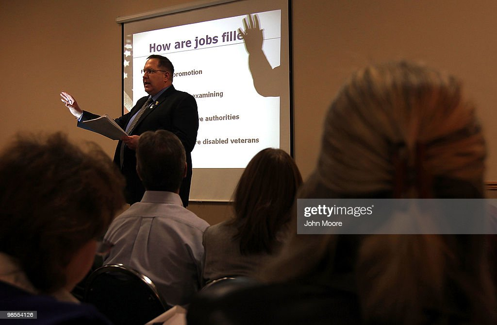 Instructor John Brence gives a session entitled '10 Steps to a Federal Job' at the 'Job Hunters Boot Camp' on April 19, 2010 in Aurora, Colorado. Hundreds of unemployed Coloradans turned out for the seminar and job fair sponsored by U.S. Rep. Ed Perlmutter (D-CO). Sessions at the conference included tips to landing a federal job, improving interview skills, writing resumes and using social networking to find employment. Local colleges advertised courses for first responder training and companies took employment applications.