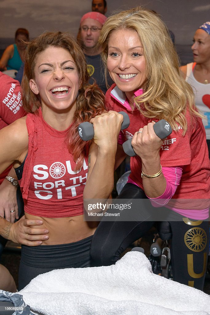 Instructor Kym Perfetto (L) and tv personality <a gi-track='captionPersonalityLinkClicked' href=/galleries/search?phrase=Kelly+Ripa&family=editorial&specificpeople=202134 ng-click='$event.stopPropagation()'>Kelly Ripa</a> attend SoulCycle's Soul Relief Rides at SoulCycle Tribeca on November 11, 2012 in New York City.