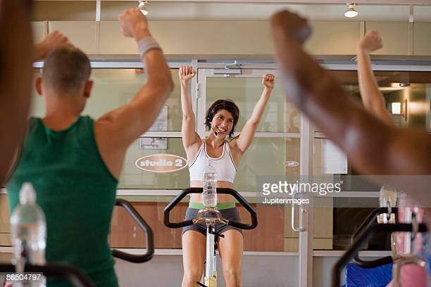 Instructor teaching spin class
