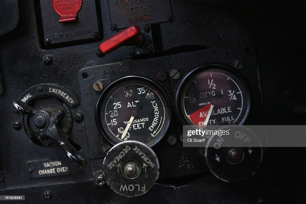 Instruments and controls of the Lancaster bomber 'Just Jane' which is being restored with the aim of getting it airworthy, at Lincolnshire Aviation Heritage Centre, on February 14, 2013 in East Kirkby, England. The plane, which last flew in 1971, would become one of only three airworthy Lancaster bombers in the world. Brothers Fred and Harold Panton, owners of the Lincolnshire Aviation Heritage Centre, are restoring the plane in memory of their sibling, Christopher Panton, who died aged 19 when his Lancaster was shot down in 1944.