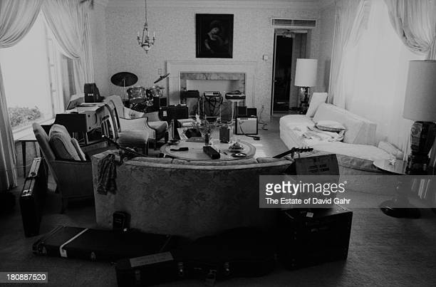 Instruments and recording equipment arrayed in the living room for rehearsal at Eric Clapton's rented home at 461 Ocean Blvd in April1974 in Golden...