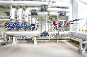 Modern and new boiler room equipment  with many instruments of measurement.