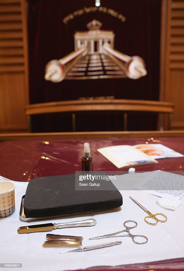 Instruments used in the Jewish circumcision ceremony lie on a table prior to the circumcision of baby infant Mendl Teichtal at the Chabad Lubawitsch Orthodox Jewish synagogue on March 3, 2013 in Berlin, Germany. Germany's parliament, the Bundestag, passed a law affirming the legality of circumcision in December after a Cologne court called the practice into question in May of 2012, a ruling that sparked outrage among Germany's Jewish and Muslim population.