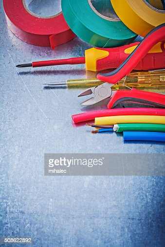 Insulating tape electric cables insulated screwdriver cutting pl : Stock Photo