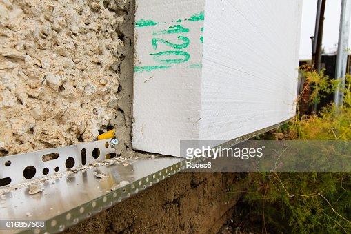 insulation facade polystyrene : Stock Photo