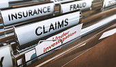 Folder with close up on the word claims and a note where it is written under investigation. Concept of insurance fraud, 3d Illustration