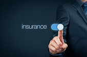 Insurance concept. Businessman (or insurance agent) switch over insurance.