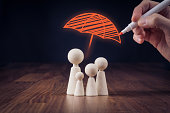 Family life and property insurance concept. Wooden figurines representing family and hand drawing umbrella, symbol of insurance.