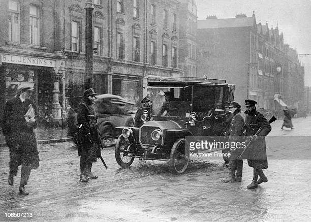 Insurgents Checking Vehicles In The Streets Of Dublin On The Easter Rising
